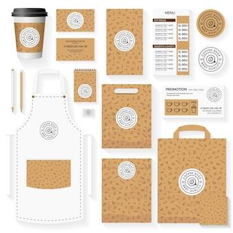 Design de modelo de identidade corporativa de cafeteria definido com padrão geométrico de memphis.