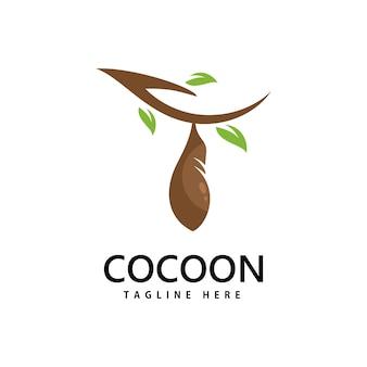 Design de modelo de ilustração de ícone de vetor de logotipo cocoon