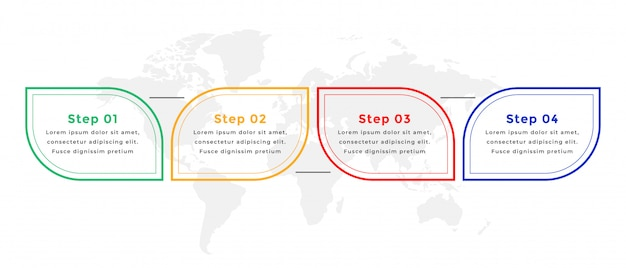 Design de modelo de infográfico de estilo de linha de quatro etapas