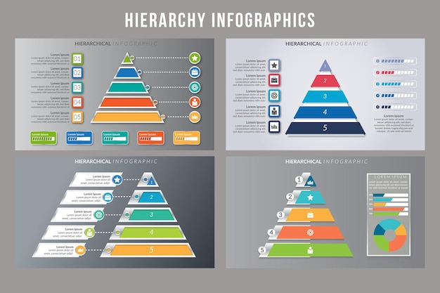 Design de modelo de infográfico de hierarquia
