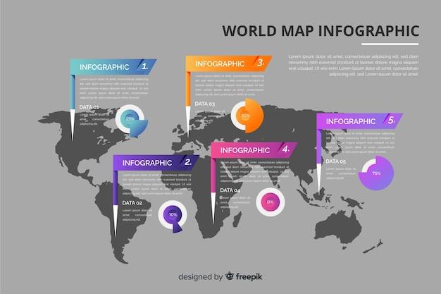 Design de modelo de infográfico de mapa mundo