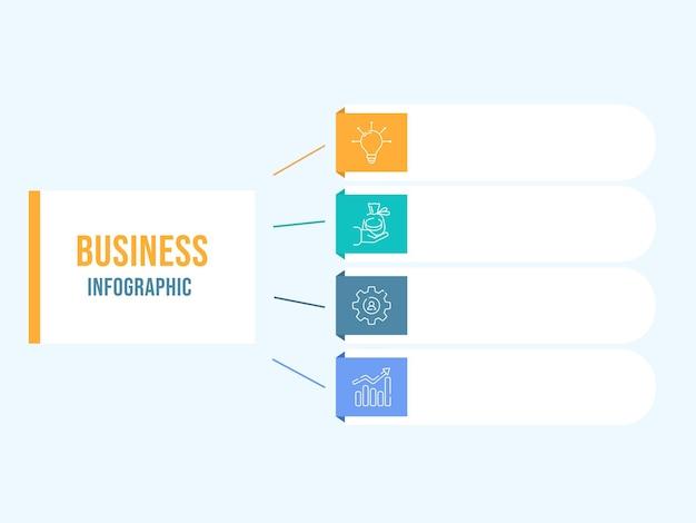 Design de modelo de infográfico de negócios com quatro opções de ícone de cores e espaço de cópia.