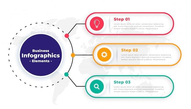 Design de modelo de infográfico de negócios modernos de etapas de árvore