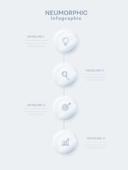 Design de modelo de infográfico neumorfo com quatro elementos redondos na linha vertical sobre fundo branco.