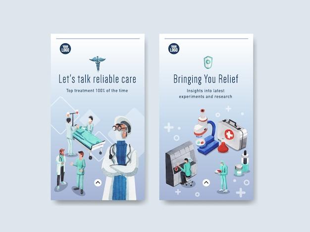 Design de modelo de instagram de saúde com equipamentos médicos e equipe médica e dispositivos altamente tecnológicos médicos e pacientes