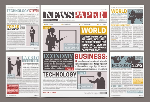 Design de modelo de jornal com artigos financeiros, notícias e publicidade