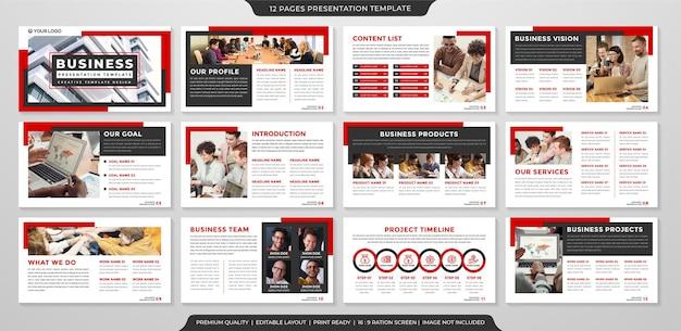 Design de modelo de layout de apresentação de negócios com estilo limpo e conceito simples