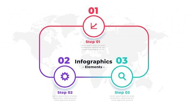 Design de modelo de layout de infográficos de linha de três etapas