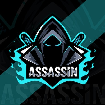 Design de modelo de logotipo assassino mascote esport