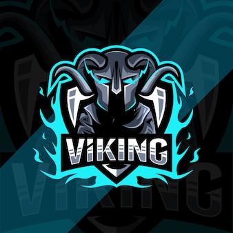 Design de modelo de logotipo bonito mascote viking
