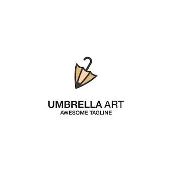 Design de modelo de logotipo de arte guarda-chuva