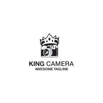 Design de modelo de logotipo de câmera de rei