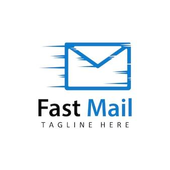 Design de modelo de logotipo de correio de entrega rápida em fundo isolado