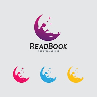 Design de modelo de logotipo de livro de leitura de homem