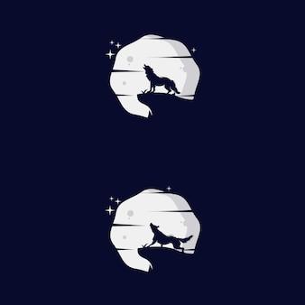 Design de modelo de logotipo de lobo uivando