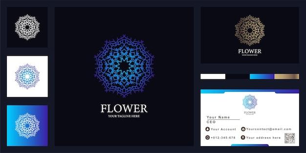 Design de modelo de logotipo de luxo de flor, boutique ou ornamento com cartão de visita.