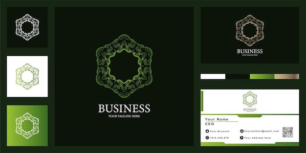 Design de modelo de logotipo de luxo de flor ou ornamento com cartão de visita