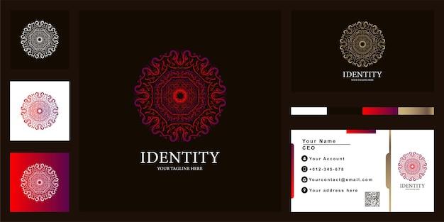 Design de modelo de logotipo de luxo mandala ou ornamento com cartão de visita