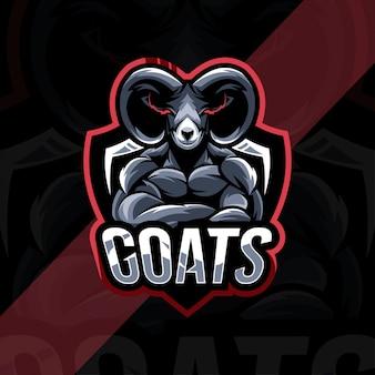 Design de modelo de logotipo de mascote de cabra