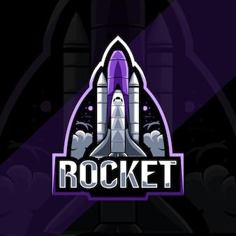 Design de modelo de logotipo de mascote de foguete esport