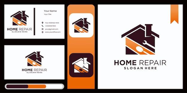 Design de modelo de logotipo de melhoria residencial, logotipo de empresa de melhoria residencial de reforma de casa com display de cartão de visita elegante e luxuoso