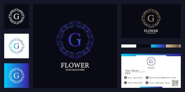 Design de modelo de logotipo de moldura de flor de ornamento de luxo letra g com cartão de visita