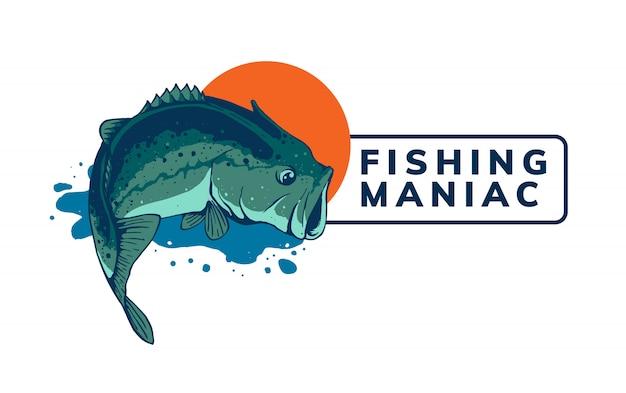 Design de modelo de logotipo de pesca