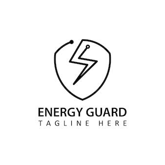 Design de modelo de logotipo de proteção de energia de circuito de tecnologia