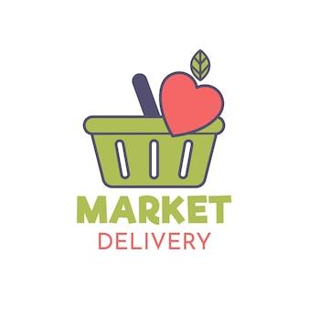 Design de modelo de logotipo de supermercado