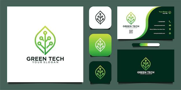 Design de modelo de logotipo de tecnologia verde e cartão de visita premium vector