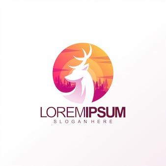 Design de modelo de logotipo de veado colorido