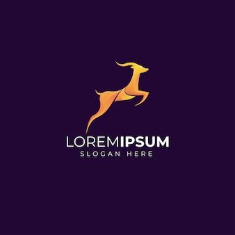 Design de modelo de logotipo de veado gradiente