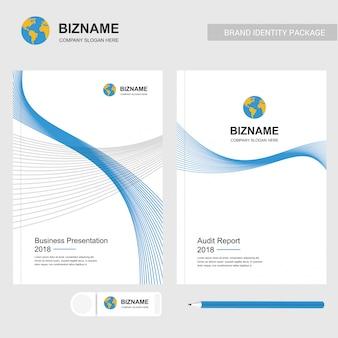 Design de modelo de logotipo e apresentação do globo