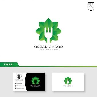 Design de modelo de logotipo e cartão de negócios de alimentos orgânicos