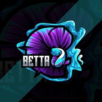 Design de modelo de logotipo mascote betta
