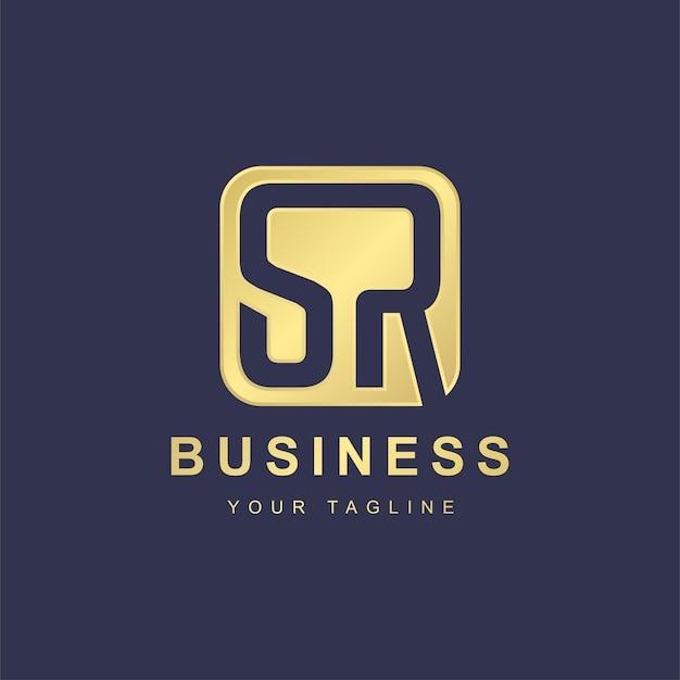 Design de modelo de logotipo minimalista de letras sr