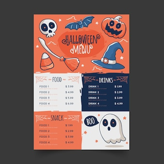Design de modelo de menu de halloween