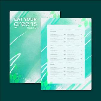Design de modelo de menu de restaurante em aquarela