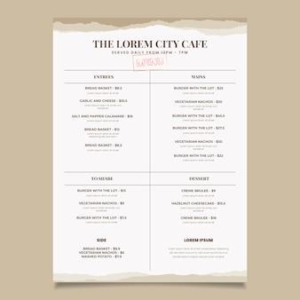 Design de modelo de menu de restaurante vintage