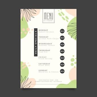 Design de modelo de menu de restaurante