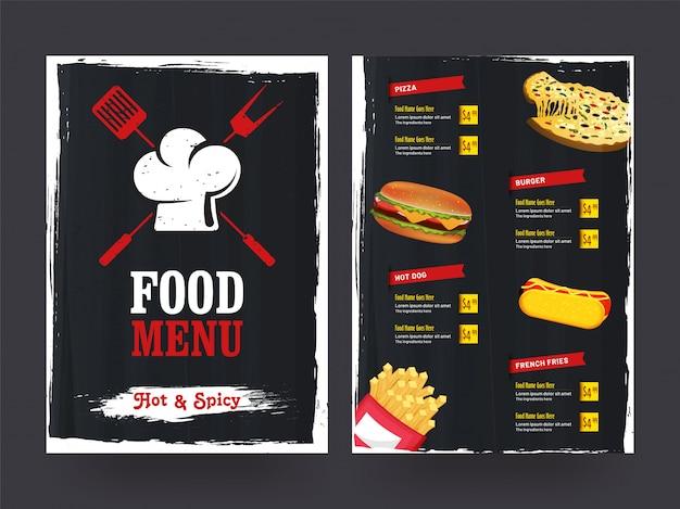 Design de modelo de menu do restaurante café