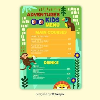 Design de modelo de menu para restaurante de crianças.