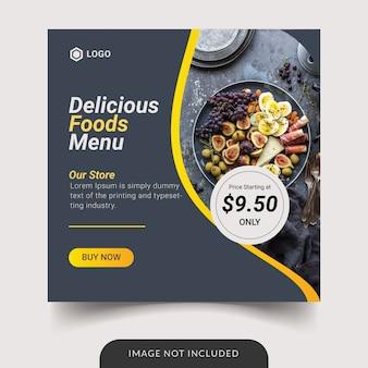 Design de modelo de mídia social de menu de comida deliciosa
