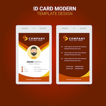Design de modelo de negócios corporativos simples moderno cartão de identificação vetor premium