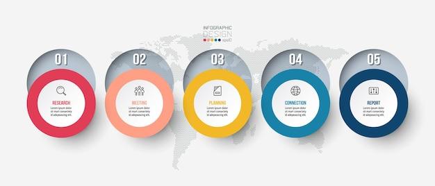 Design de modelo de negócios infográfico com etapa ou opção.