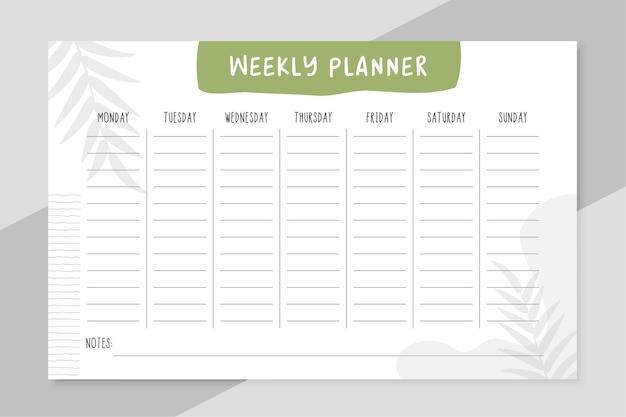 Design de modelo de organizador de lista de tarefas semanais