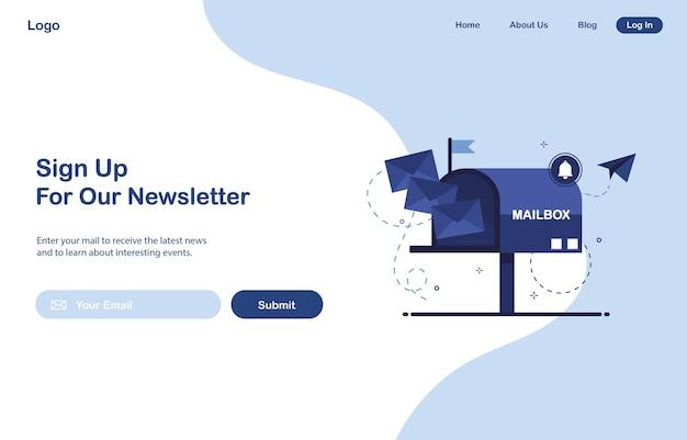 Design de modelo de página da web da ui de marketing por e-mail para assinatura de boletim informativo