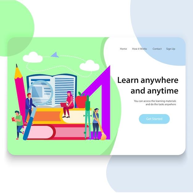 Design de modelo de página de aterragem de educação, ilustração vetorial