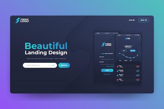 Design de modelo de página de aterrissagem de site de aplicativo bitcoin