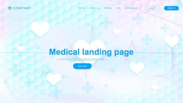 Design de modelo de página de aterrissagem médica. modelo de banner abstrato de cuidados de saúde. asbtract formação científica com hexágonos. padrão de inovação. ilustração vetorial.